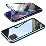 Topmore Hülle Kompatibel mit Samsung Galaxy Note10 Lite 5G Magnetische Handyhülle,Metallrahmen 360 Grad Schutzhülle Vorne & Hinten Gehärtetes Glas Magnet Hülle Panzerglas Doppelseitige hülle,Blau