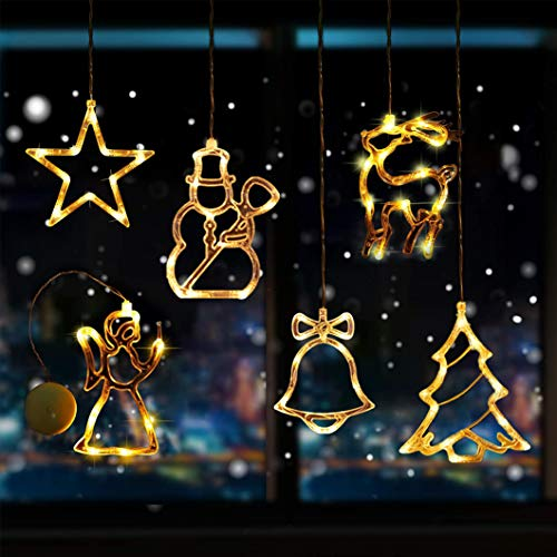 Sunshine smile LED Vorhang Licht, LED Fensterlicht Saugnapf,Kabelbeleuchtung,Fensterlichter,lichtervorhang Fenster led,Lichterkette,Lichtervorhang Lichter Weihnachtsbeleuchtung(6 Pcs)