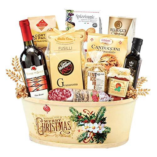"""Italienischer Premium Genießer Präsentkorb """"Camelot"""" Weihnachtskorb Italienische Speisen und Wein Spezialitäten - Insgesamt 12 Artikel Geschenkkorb aus Italien - Feinkost Geschenkkorb"""