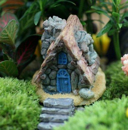 Cratone 1 Stück Miniatur-Feengarten Stein Haus Ornamente DIY Zubehör Micro Landschaft Pflanzen Ornamente Puppenhaus Blumentopf Sukkulenten Dekoration