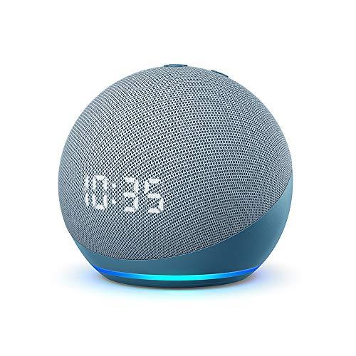 Echo Dot (4.ª generación) | Altavoz inteligente con reloj y Alexa | Azul grisáceo