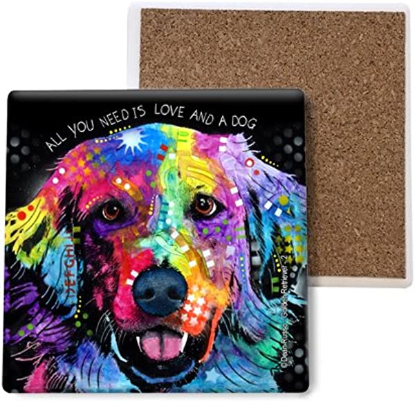 SJT ENTERPRISES INC Golden Retriever All You Need Is Love And A Dog Absorbent Stone Coasters 4 Inch 4 Pack Features The Artwork Of Dean Russo SJT07020