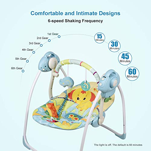 VASTFAFA Electric Baby Swing Infant Bouncer, Blue Toddler Seat Chair Rocker with 16 Soft melodies 6 Swinging Speed and a Mosquito net, New Gift for Newborns Babies