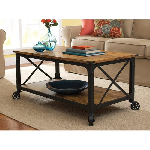 Supernon Better Homes and Gardens Country Coffee Table, Antiqued Black/Pine Finish by Better Homes & Gardens