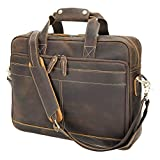 Texbo Professional Full Grain Leather Briefcase for Men 15.6 Inch Laptop Messenger Bag Tote Fit Business Travel