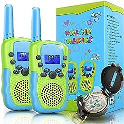 Jojoin Walkie Talkies Kinder mit Kompass und Hintergrundbeleuchteter LCD-Taschenlampe, 3km Lange Reichweite, Spielzeug 3-12 Jahren für Jungen Mädchen, Abenteuer im Freien, Camping, Wandern