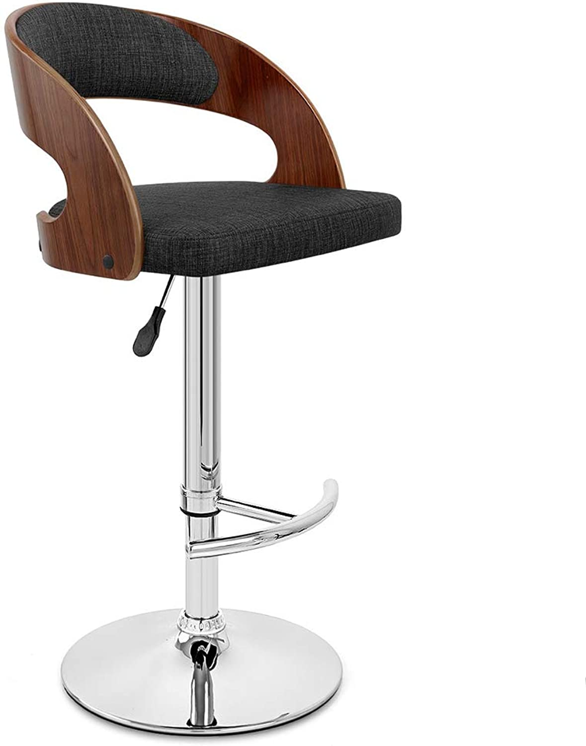 LIQICAI Bar Stool with Fabric Backrest and Seat Adjustable Height Swivel Stool Footrest Large Base, 3 colors Seat, 3 Chair Frame colors Optional (color   Black, Size   Brown Frame)