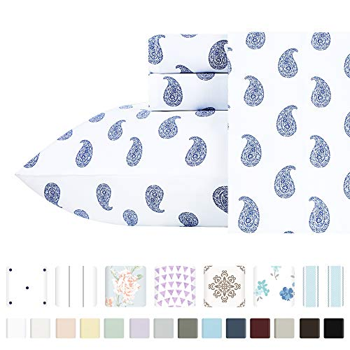 California Design Den 400-Thread-Count 100% Pure Cotton Sheets - 3 Pc Paisley Blue Twin XL Printed Bed Sheet Set, Long-Staple Combed Cotton Sateen Weave, Fits Mattress 15'', Deep Pocket