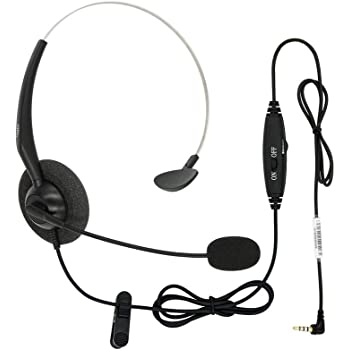 Amazon Com Dailyheadset 3 5 Mm Jack Hands Free Cell Phone Headset On Ear Headphones With Microphone Mute Volume Control On Cord Home Audio Theater