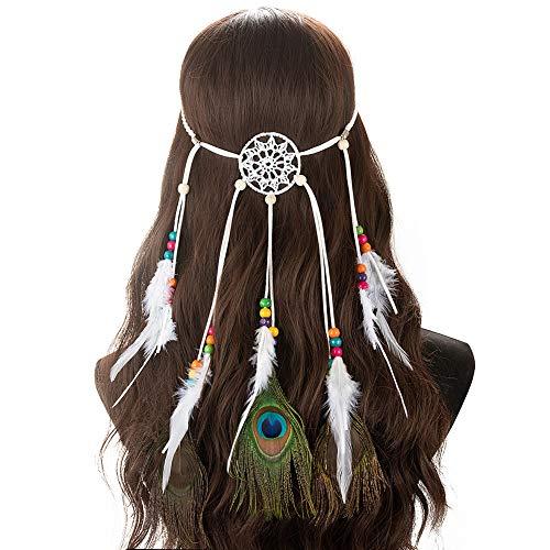 Veer hoofdband Boheemse pauw kwast haarband dromenvanger hippie Indianen hoofdtooi riem met parels voor avondjurken Halloween carnaval maskerade accessoires
