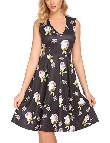 Women's V Neck Sleeveless Dress A-Line Floral Print Casual Midi Dresses