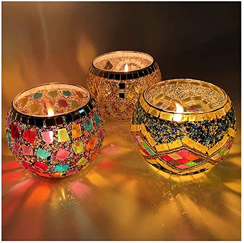 IIQ Round Votive Candle Holders, LED Candle Lamps Holder for Votive Candles and Tealight Set of 3, Bowl Tea Night Light Holders Handmade Artwork Gifts for Home Decor/Party Decorations