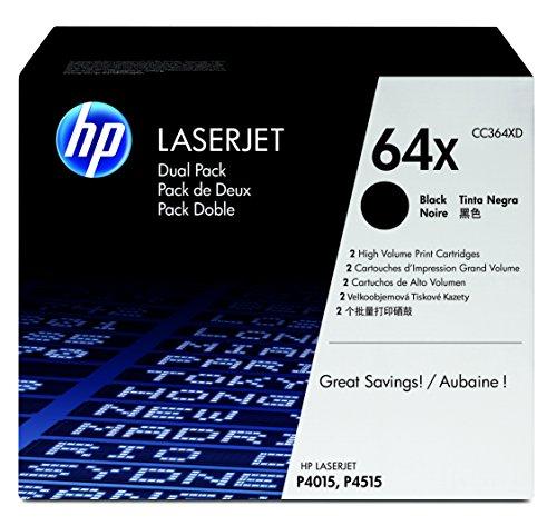 HP 64X 2er-Pack (CC364XD) Schwarz Original Toner mit hoher Reichweite für HP Laserjet P4015, HP Laserjet P4517