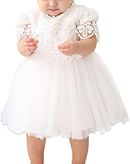 zhxinashu Lace Princess Dress Short Sleeve Christening Gowns Birthday Newborn Clothing