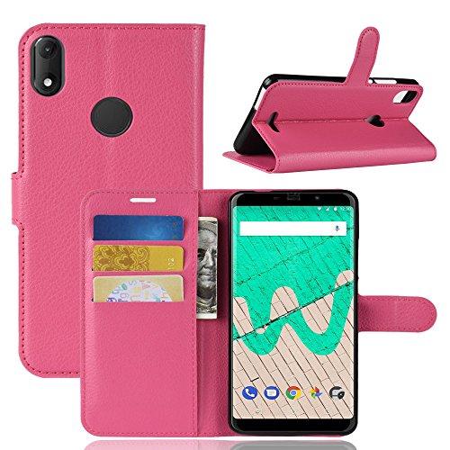 HongMan Handyhülle für Wiko View Max Hülle, Premium Leder PU Flip Hülle Wallet Lederhülle Klapphülle Magnetisch Silikon Bumper Schutzhülle Tasche mit Kartenfach Geld Slot Ständer, Pink