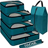 BAGAIL 6 Set Packing Cubes,Travel Luggage Packing Organizers with Laundry Bag(Teal)