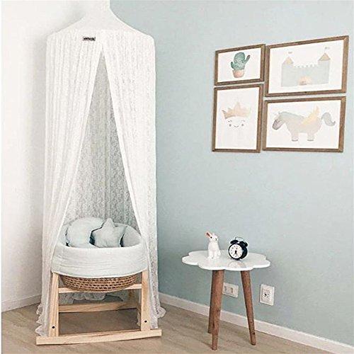 Ommda Moskitonetz Bett Kinder und Baby Betthimmel Moskitonetz Spitze süß und romantisch für Kinderzimmer und Schlafzimmer Weiß 240x50cm (HöhexDurchmesser)