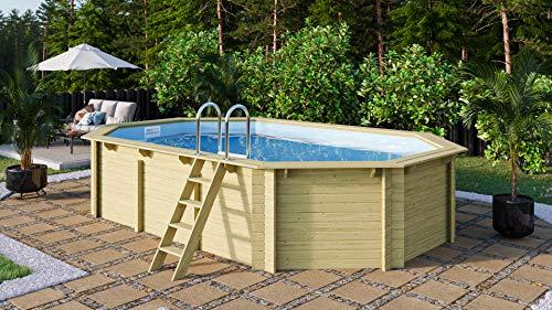 Trend Holzpool Set Achteck Langform 610 x 400 x 124 cm Innenhülle Sand