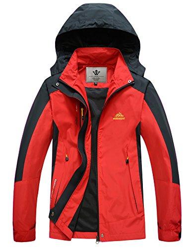 WenVen Womens Lightweight Waterproof Outdoorwear Sport Jacket(Red,L)