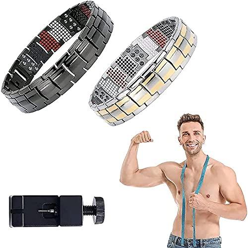 YJHC Magnetic Therapy Fit Plus Bracelet, Super Strength Magnetic Bracelet,Men's Dual Magnetic Wide Titanium Magnetotherapy.(Adjustable Length) (B)