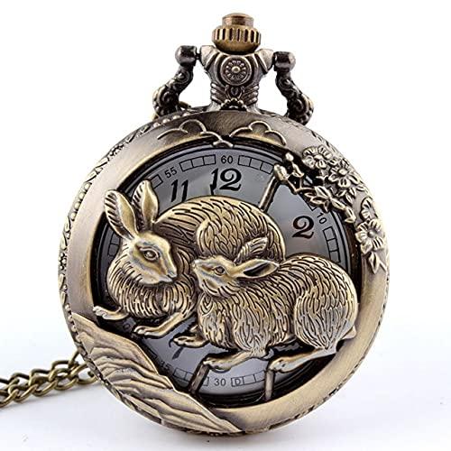 SSJIA Collar con Colgante Calado del Zodiaco Chino Reloj de Bolsillo para Hombre Relogio De Bolso-Rabbit