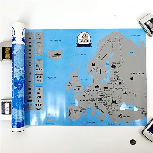 PMSMT Neuankömmling Creative Scratch Europe Map DIY Kunstdruckpapier Reiseurlaub Personal Mark Wanddekoration Geschenk 55