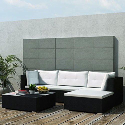 binzhoueushopping tuinbank, 14-delig, zwart, afmetingen zitzak 70 x 70 x 26 cm (L x B x H) polyrotan en frame van gelakt staal, uittrekbaar, polyrotan