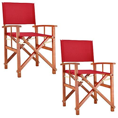 Deuba 2x Wooden Chair Cannes FSC-Certified Eucalyptus Wood Director Makeup Folding Indoor Outdoor Garden Grey Red Green Cream