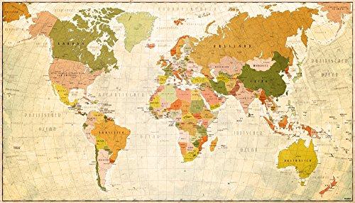 Yohmoe Weltkarte als XXL Poster im Retro-Style, 140x80 cm Panorama Landkarte im beigen Design, Hochwertige Vintage-Worldmap als Wandbild
