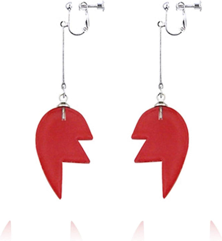 Creative Acrylic Broken Heart Stud Earring Red Resin Heart Shaped Puzzle Hook Earring Clip On Ear No Piercing Earring for Women Girls-Screw