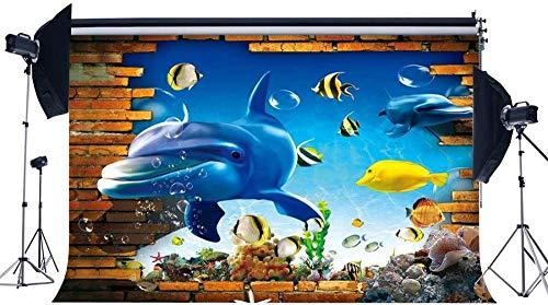 NEW Vinyl 7X5FT 3D Underwater World Backdrop Aquarium Backdrops Fish Coral Dolphin Crash Brick Wall Tropical Photography Background for Kids Summer Journey Ocean Sailing Photo Studio Props 514