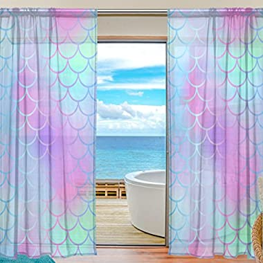 My Little Nest Colorful Magic Mermaid Fish Scale Pattern Sheer Window Curtains Drapes 55 X 78 Inch Decorative Window Treatments for Bedroom Living Room 2 Panels