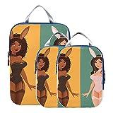 Cubos de embalaje, comprimibles, hermosos dibujos animados para niñas, lindo disfraz de conejito, organizadores de embalaje para equipaje, organizador de embalaje expandible para equipaje de mano, vi