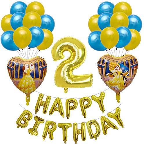 JSJJAWS Globos Decoracione 24pcs / Set Bella y la Bestia Decoración Globos de Oro Conjunto Número de la Princesa cumpleaños Aire Globos niñas decoración (Color : Number 2 Set)