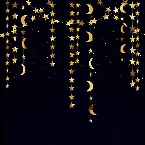 Decor365 Gold Star Moon Garland Hanging Garands Streamers Banner Backdrop for Twinkle Little Star Party Decoration First Birthday/Baby Shower/Wedding//Kids Room/Nursery/Ramadan EID/Graduation Decor