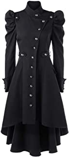 Gothic Vintage Steampunk Victorian Swallow Tail Long Trench Coat Jacket