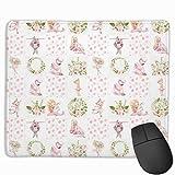 Kleine Ballerinas und süße Tiere Patchwork auf weißem Mauspad Mousepad rutschfeste Gummi-Rückseite 10'x 12'