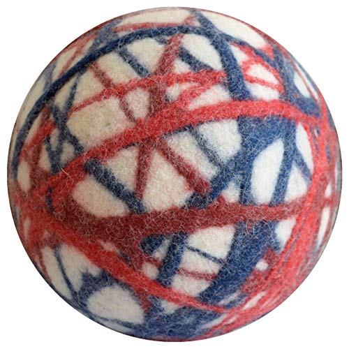 Lou-i Filzball weiß Made in Germany - 100% Wolle - plastikfrei - Weicher Stoffball für Kinder - Spielball für drinnen - Indoor Ball Geschenk (Weiß-rot-blau, 43cm)