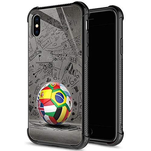 iPhone XR Case,9H Tempered Glass iPhone XR Cases for Boys Mens,The World of Soccer Cool Pattern Design Shockproof Anti-Scratch Case for Apple iPhone XR 6.1 inch Football