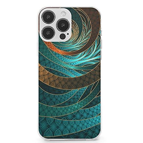 Compatible con iPhone 13 Pro Max, hermosa funda de piel con cordón turquesa fractal brazaletes de silicona completa cuerpo protección funda resistente a los arañazos 6.1 pulgadas