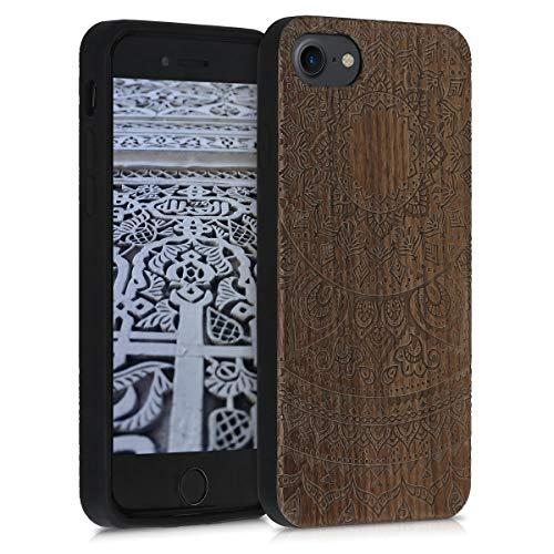 kwmobile Funda Compatible con Apple iPhone 7/8 / SE (2020) - Funda de Madera de Nogal Sol hindú marrón Oscuro
