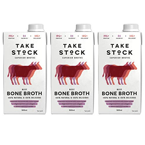 Beef Bone Broth | 100% Natural, Gluten and Dairy Free | High in Protein and Collagen | 3 x 500ml | Not from Concentrate