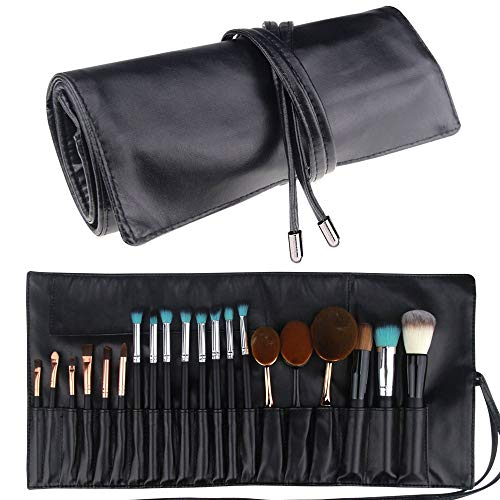 Relavel Makeup Brush Rolling Case Pouch Holder Cosmetic Bag Organizer Travel Portable 18 Pockets