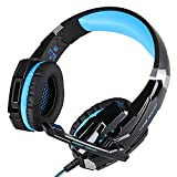 AFUNTA Gaming Headset G9000 para Playstation 4 Tablet PC iPhone 6 / 6s / 6 más / 5s / 5c / 5 Mobilephones, Auriculares de 3.5mm con Micrófono Luz LED Negro + Azul