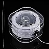 0.8 mm Elastic Cord Clear Stretchy Bracelet Beading Thread with Beading Needle for Jewelry Bracelet Making (White, 50 M)