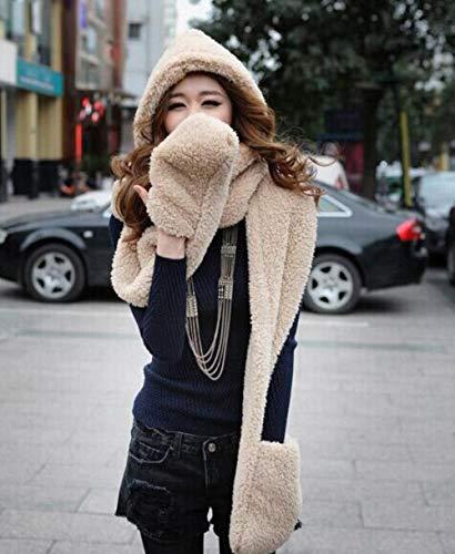 Herbst Und Winter Super Warm Plüsch Schaf Wolle Mütze Mit Schal Handschuhe HutFrauen Mode Frauen Warm Schal Set, Kaki