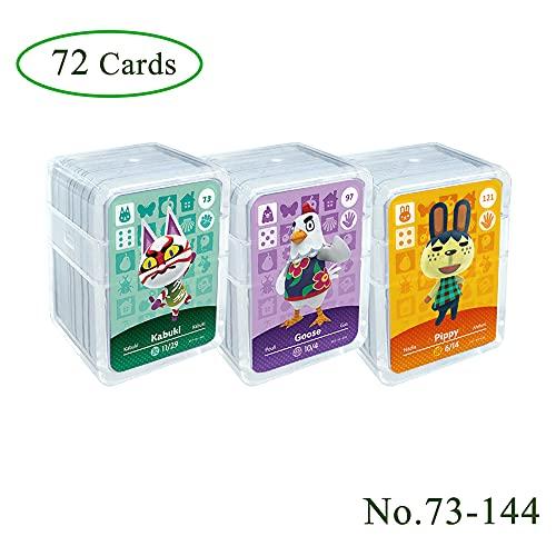 72 pièces de cartes de jeu NFC tag pour Animal Crossing, (No.73-No.144) Cartes ACNH avec couvercle en cristal, compatibles avec Nintendo Switch / Wii U