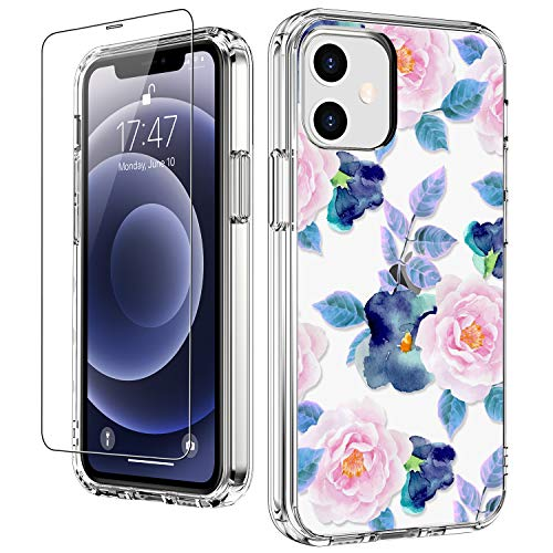 LUHOURI for iPhone 12 Case,iPhone 12 Pro Case with Screen Protector,Pink Blue Floral Flower Pattern Designs on Crystal Clear Cover for Women Girls,Protective Phone Case for iPhone 12 5.4 inch