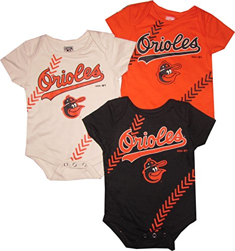 Outerstuff Baltimore Orioles 3pc Creeper Set Infant Baby Stitch (0-3 Months)