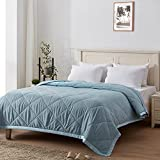 SunStyle Home Down Alternative Blanket with Satin Trim, Bedding Quilt Lightweight Comforter Soft Thin Quilted Blanket for All Seasons (King, Light Blue)